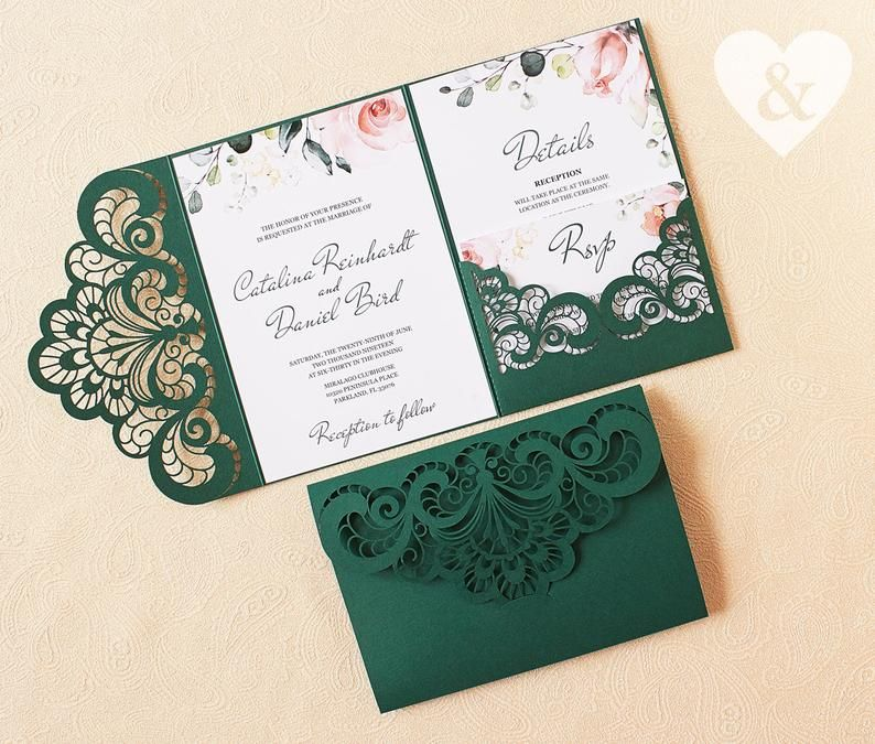 Emerald Green Pocket Wedding Invitation Kit Dusty Green Etsy Green Wedding Invitations Pocket Wedding Invitations Wedding Invitation Kits