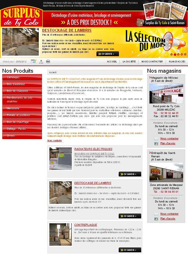 Ty Colo Surplus Destockage A Saint Renan Pres De Brest Site Internet Agence Web Materiaux