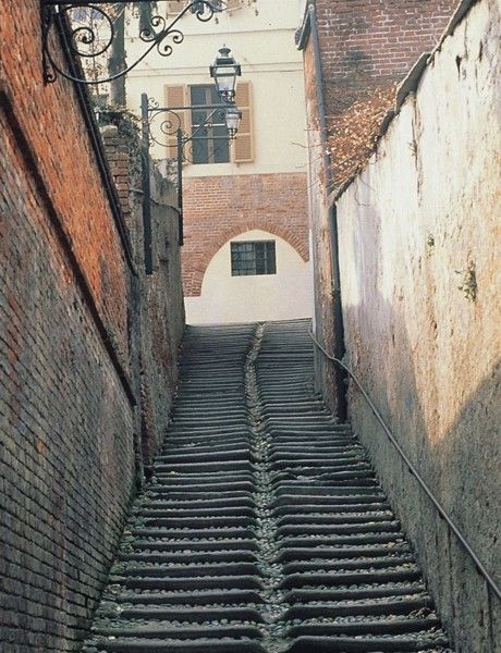 A staircase in Saluzzo's center