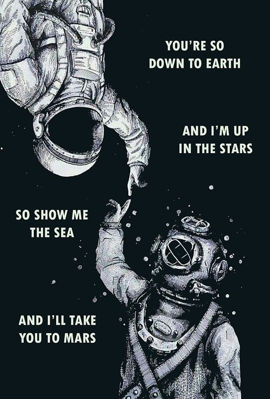 Astronaut and Diver - I'm Up in The Stars Poster by dru1138