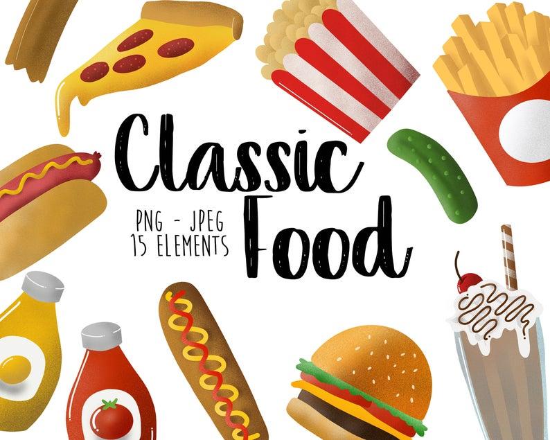 Classic Vintage Junk Food Clip Art Diner Graphics | Etsy ...  Retro Clip Art Food