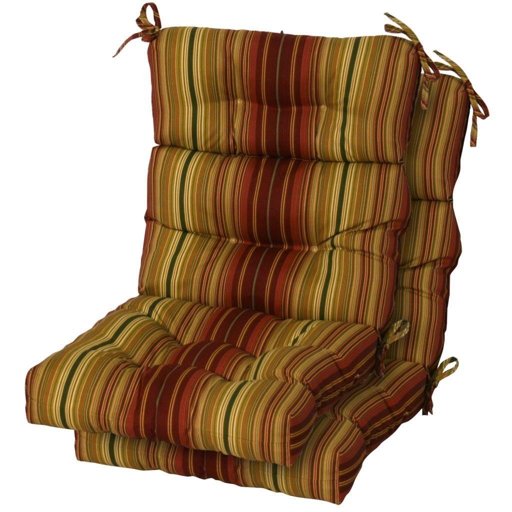 3section outdoor kinnabari stripe high back chair cushion