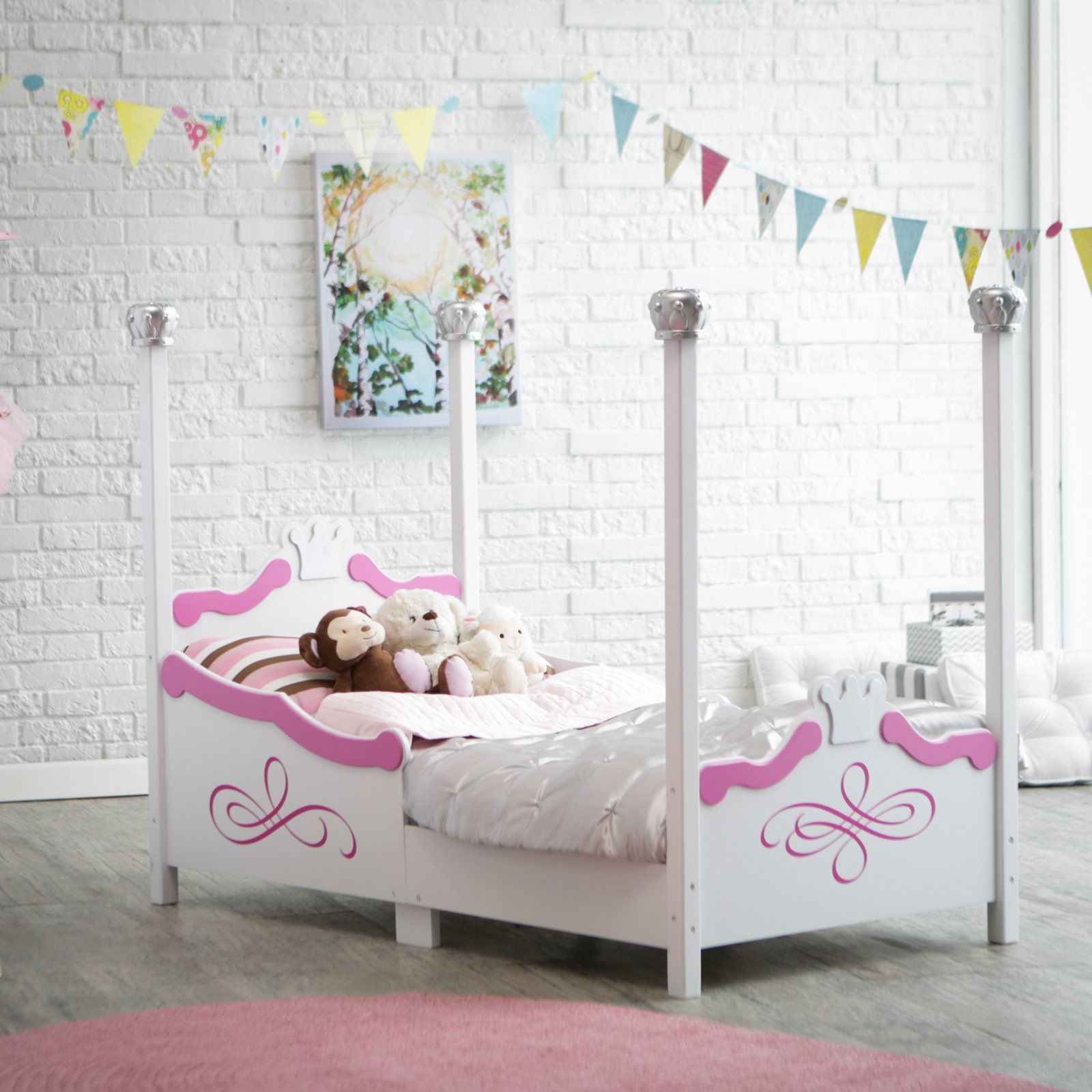 Kidkraft Princess Toddler Bed   Silver   Painted In Silver Tone Finish With  Crowns Adorning The