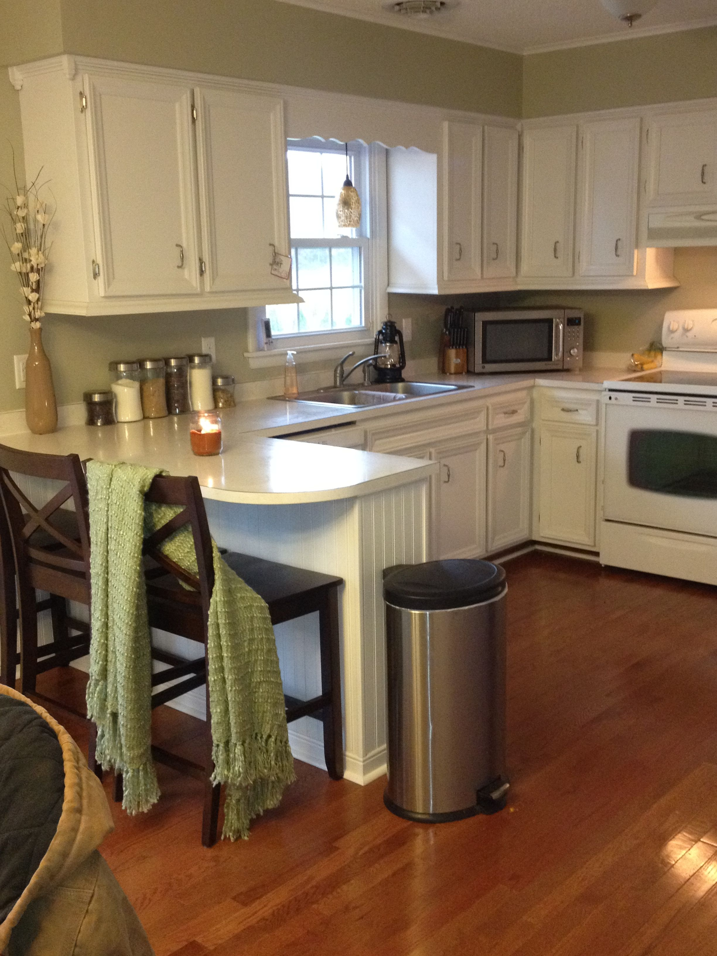 my friend candace and i painted my kitchen cabinets white and added trim to them not bad for 2 on kitchen cabinets not white id=65316
