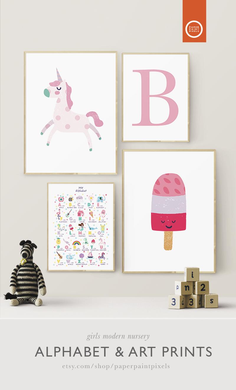 Nursery Decor Alphabet Art Prints Set