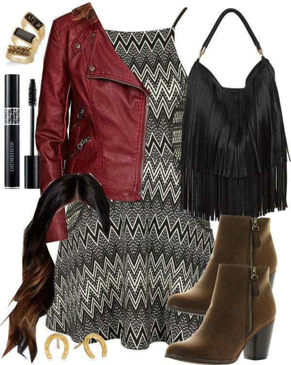 Aria Montgomery inspired outfit with brown heeld ankle booties por liarsstyle usando topshop dresses