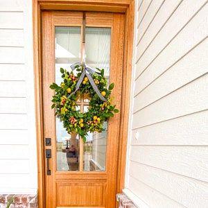 Photo of Wreaths, Spring Wreath for Front Door, Gerber Daisy Wreath, Yellow Daisy Wreath, Spring Wreaths, Spring Door Wreaths, Wreaths