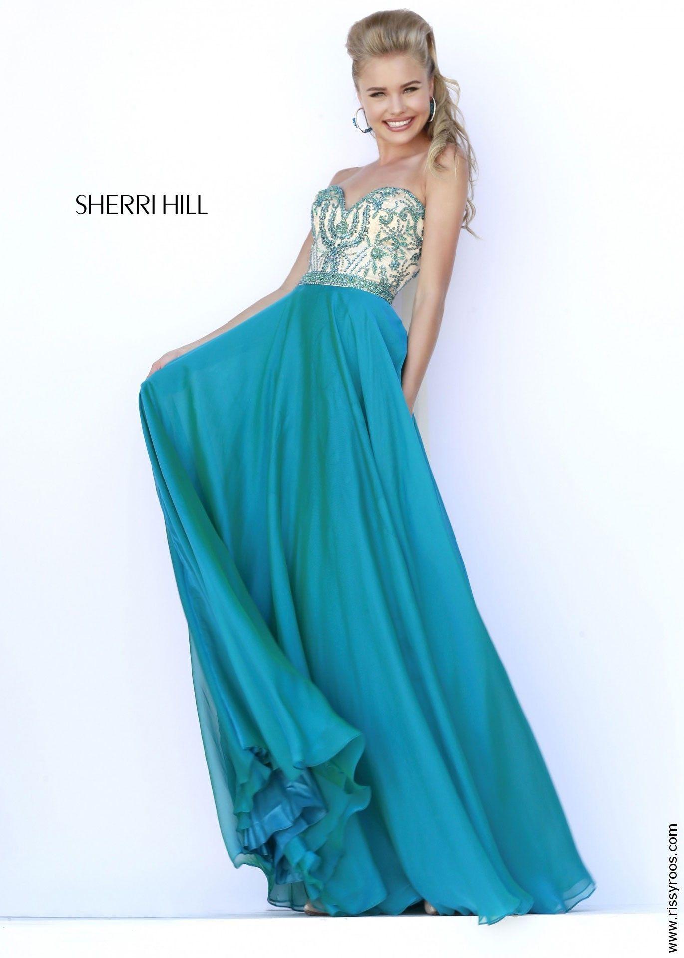 Sherri Hill 1947 Peacock Strapless Beaded Chiffon Long Prom Gown ...