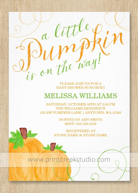 Fall pumpkin baby shower invitations pumpkin baby showers pumpkin little pumpkin baby shower invitations design features a pair of watercolor pumpkins green and orange swirls with a trendy script font filmwisefo