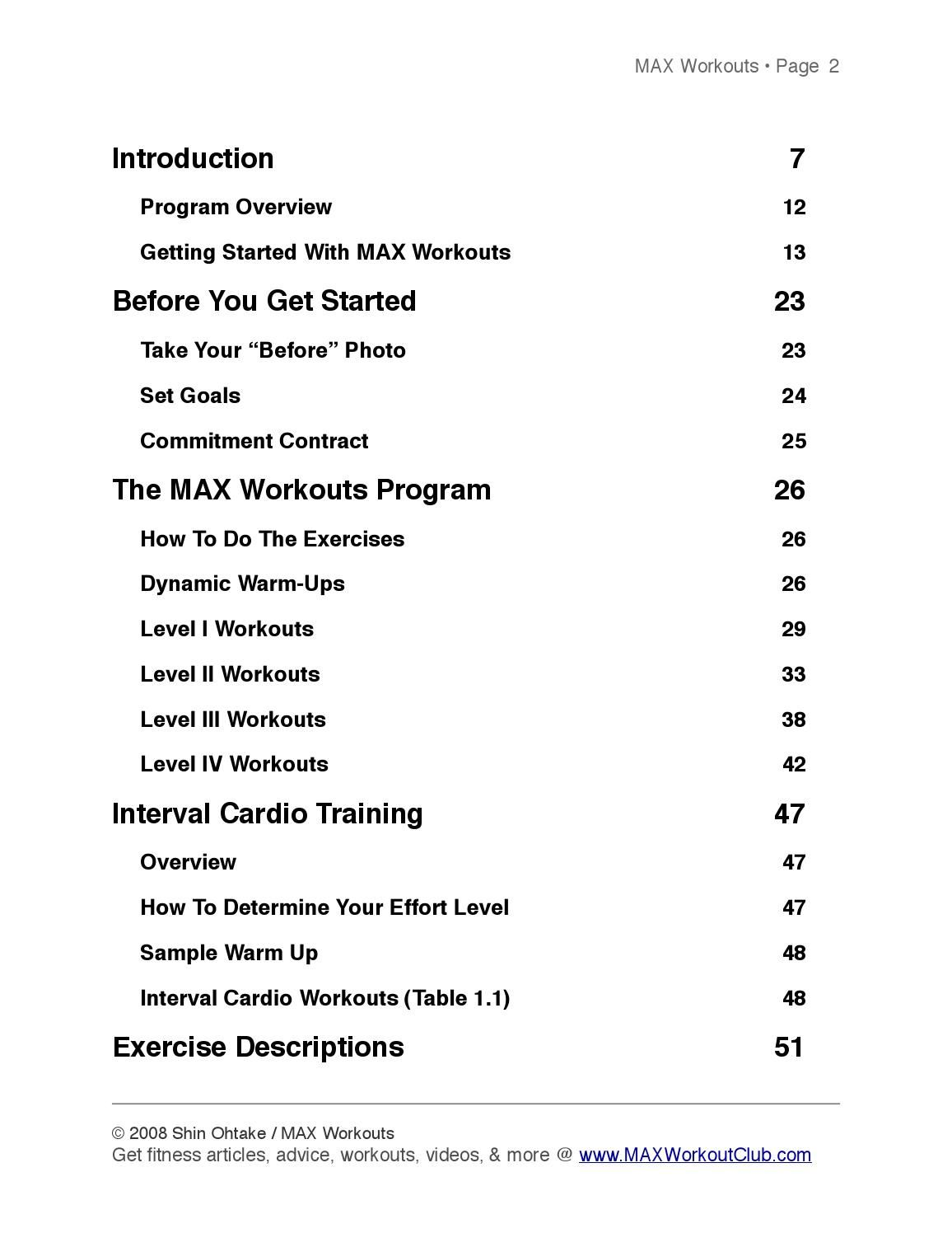Max Workout Book To