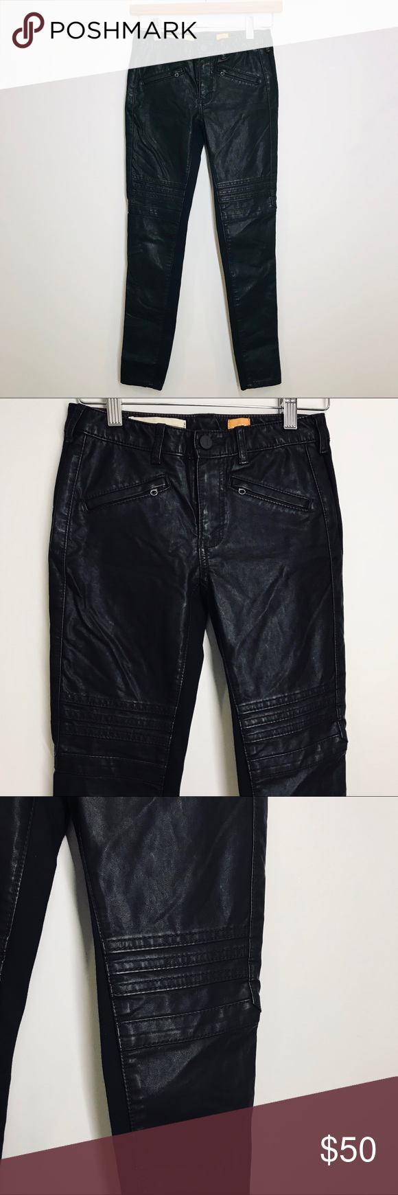 f5fc44c62d132b Anthropologie / moto faux leather jeans Faux leather jeans by Pilcro and  the Letterpress. Front is faux leather and back is like a street by legging  ...