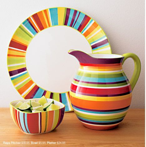 Crate And Barrel Fiesta Serving Pieces Raya Pitcher $18.95 Bowl $5.95  Platter $24.95