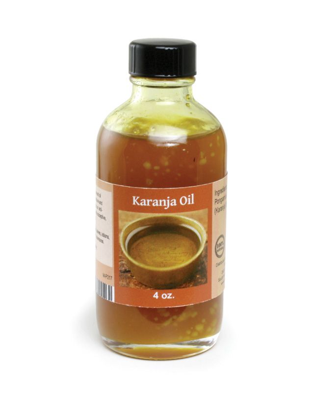 Karanja+Oil In skin care, Karanja Oil can be used to treat eczema, psoriasis, skin ulcers, dandruff, or to promote wound healing. While its therapeutic properties are similar to Neem Oil, its aroma is quite different. Karanja Oil has a milder, more versatile aroma than Neem Oil that is often described as nutty. Karanja Oil can be incorporated into body oils, salves, lotions, soaps, hair oils, shampoos, or garden sprays. Karanja Oil, Pongamia glabra, is pressed from the seeds of the Pongam…