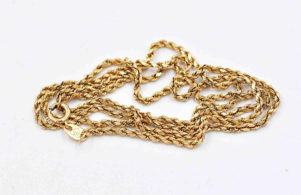 3d9ddc909b341 Vintage 14K Yellow Gold Twisted Rope Chain Necklace, 18 Inches, Fine ...