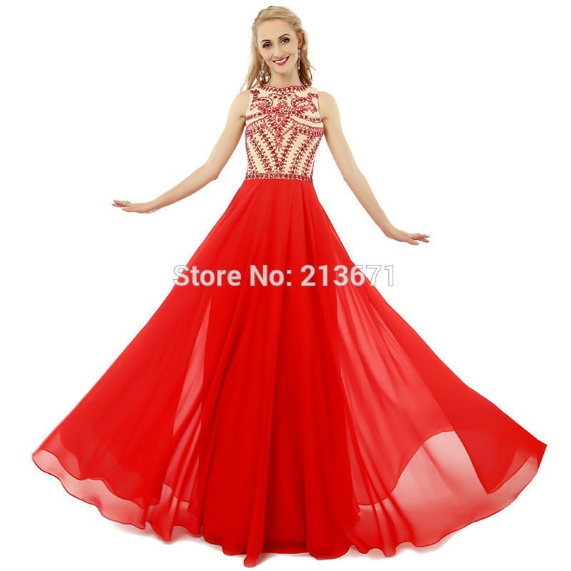 Real Photo Fashion A Line O Neck Chiffon Beaded Long Red Ombre Prom ...