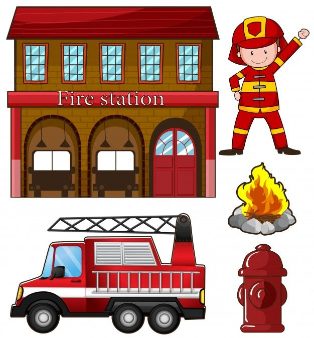 Download Fireman And Fire Station Illustration For Free Fireman Fire Station Fire Trucks