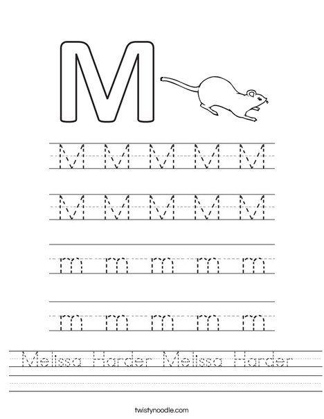 Practice writing the letter M Worksheet Pre School