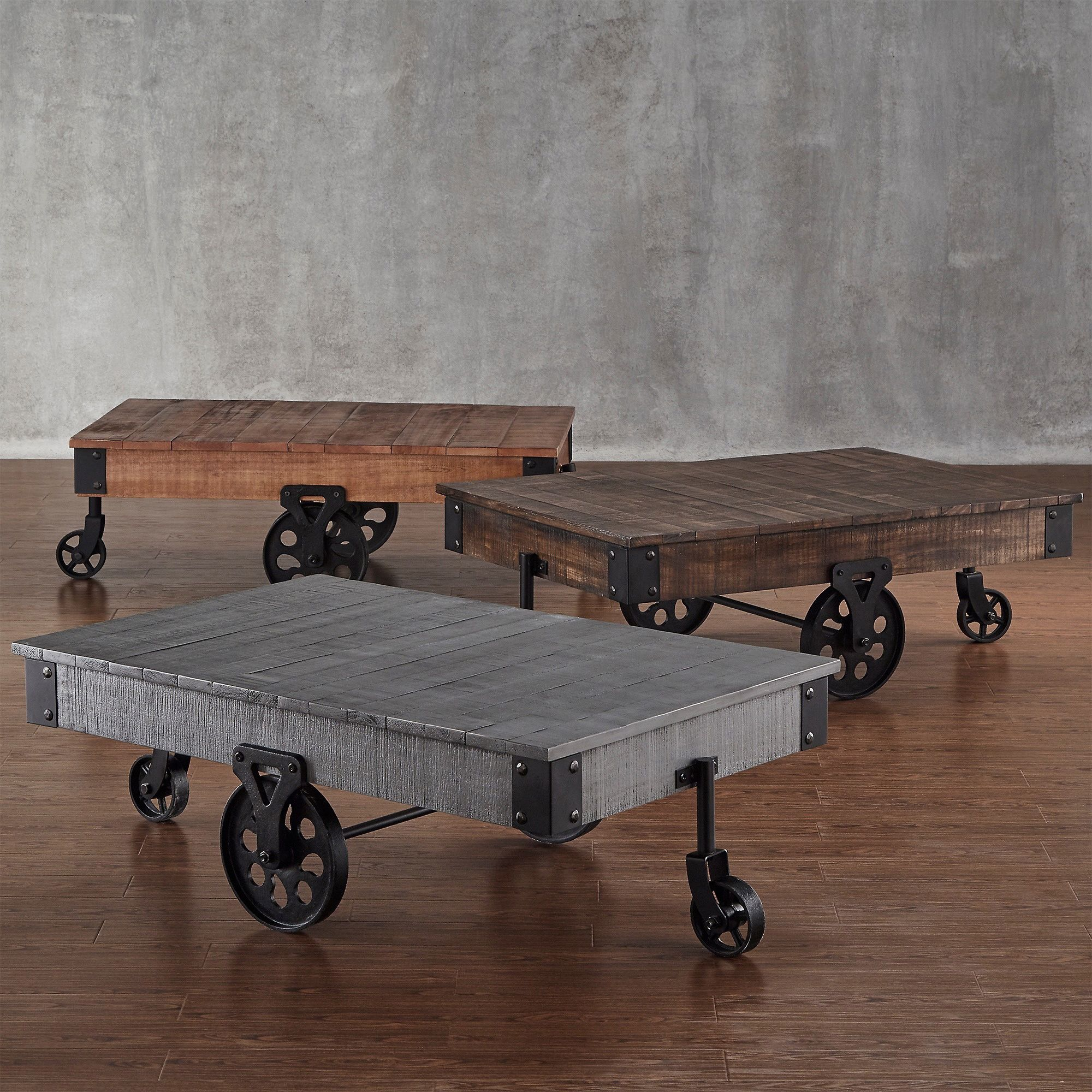 Enjoy A Drink With Friends While Sitting Around This Unique Cocktail Table.  Its Funky Design Resembles A Cart From An Old Factory, Complete With  Weathered ...