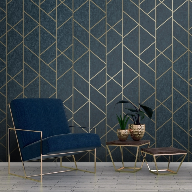 Milan Geo Metallic Wallpaper Navy, Gold