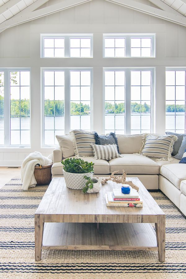 Best Lake House Blue And White Living Room Decor White Living 400 x 300