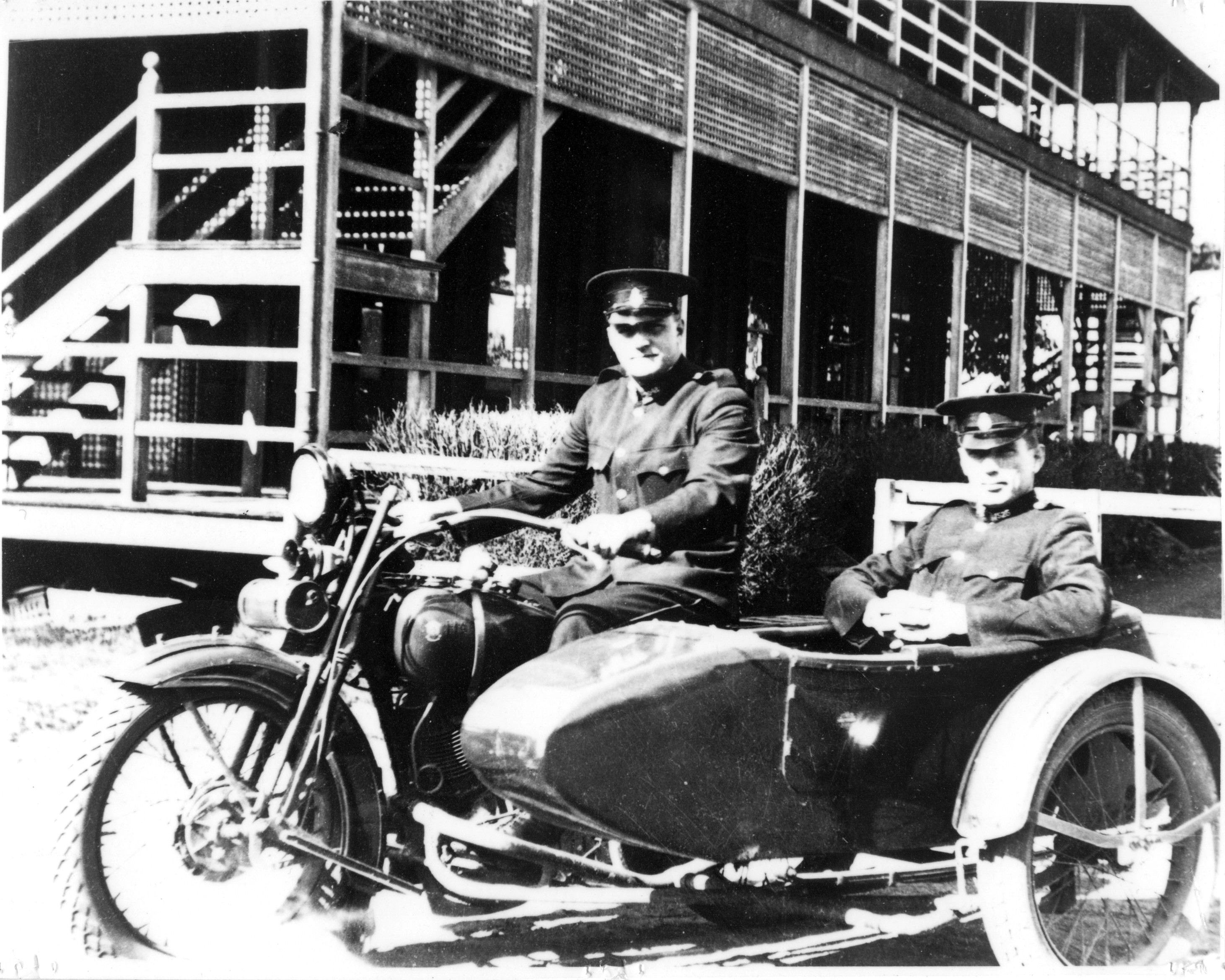 1927 Harley Davidson motorcycle and side car, photograph taken in ...