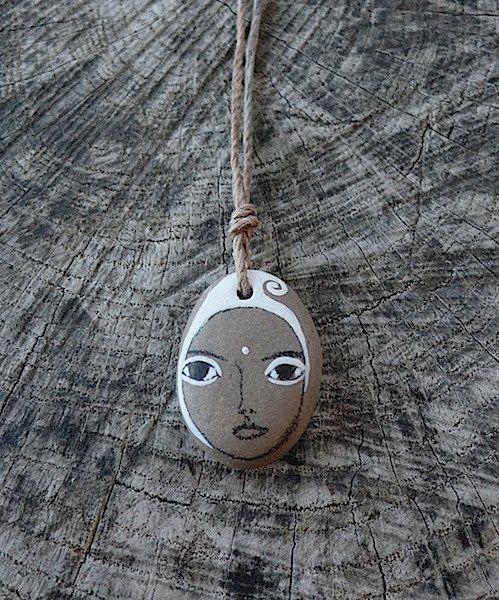 Beach+Stone+Kanzeon+Bodhisattva+Necklace+Kuan+Yin++by+LillaJizo,+$77.00