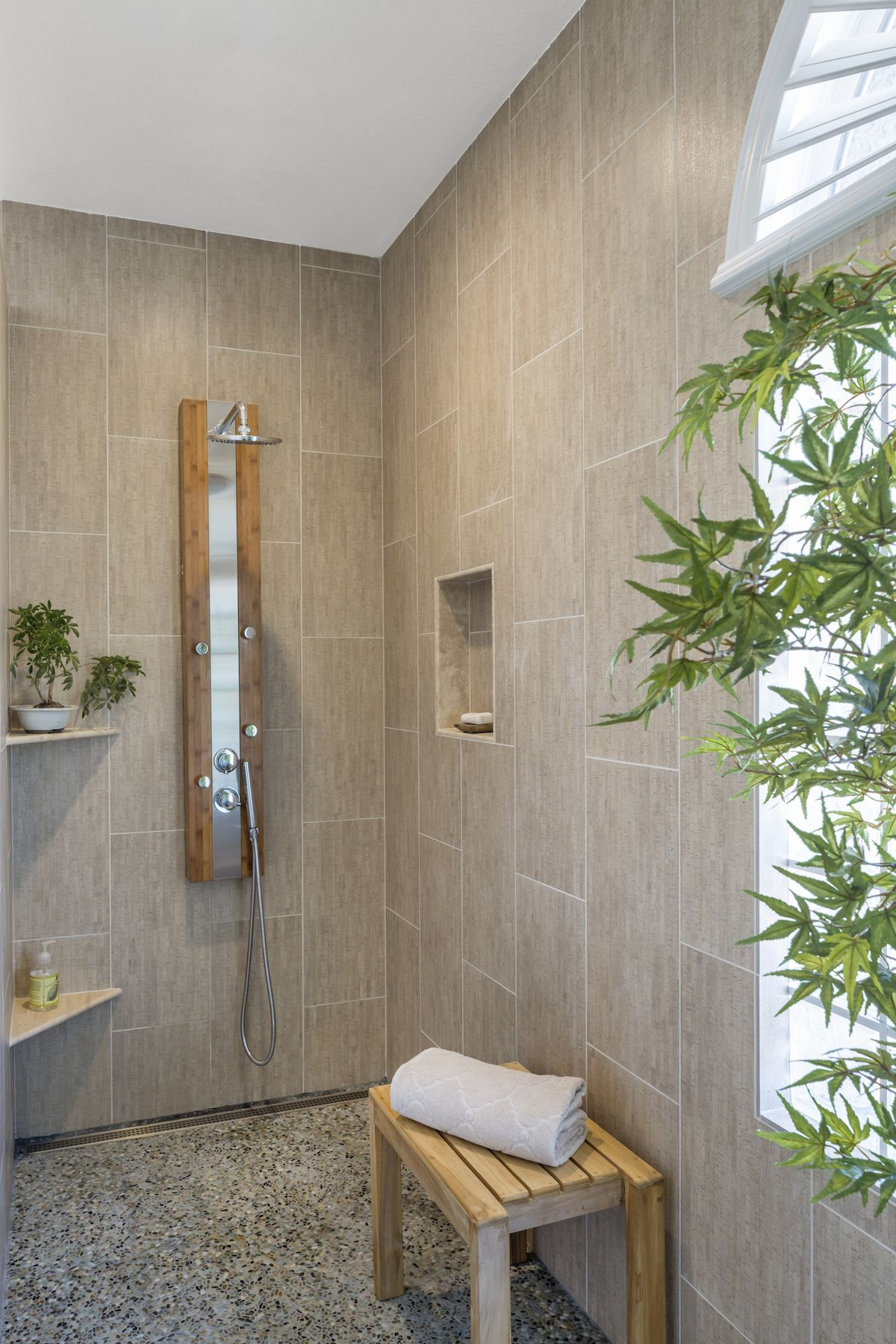 Modern Zen Bath Remodel Bamboo Print Tile Pebble Floor Tiles Bamboo Shower Panel Linear Drain Walk In Tub To Shower Remodel Shower Panels Walk In Shower