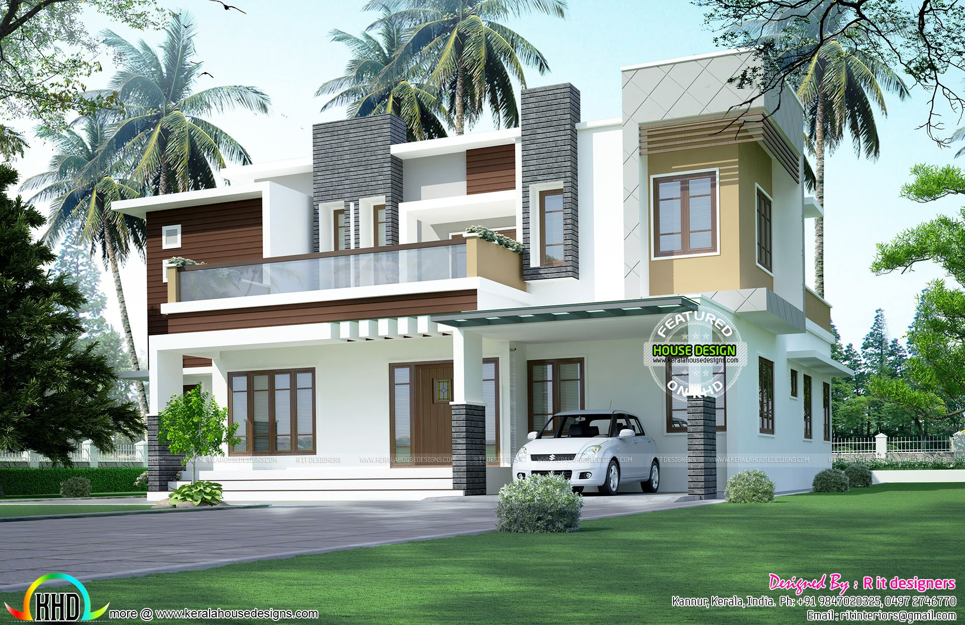 High Quality 3096 Square Feet, 3 Bedroom Box Model Contemporary Modern House Plan By R  It Designers, Kannur, Kerala.