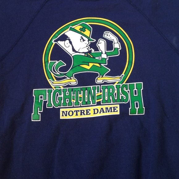 Vintage Navy Notre Dame Crewneck Says size XL but can fit a women Small! It's in great condition! Tags are still on from the vintage shops! More than willing to lower any item in my closet! Tops Sweatshirts & Hoodies