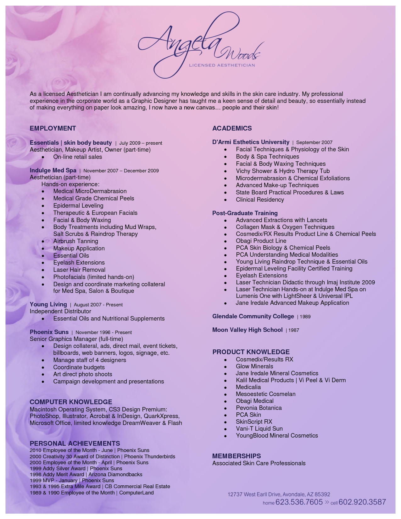 Aesthetic Resume Esthetician Resume Resume Examples Good Resume Examples