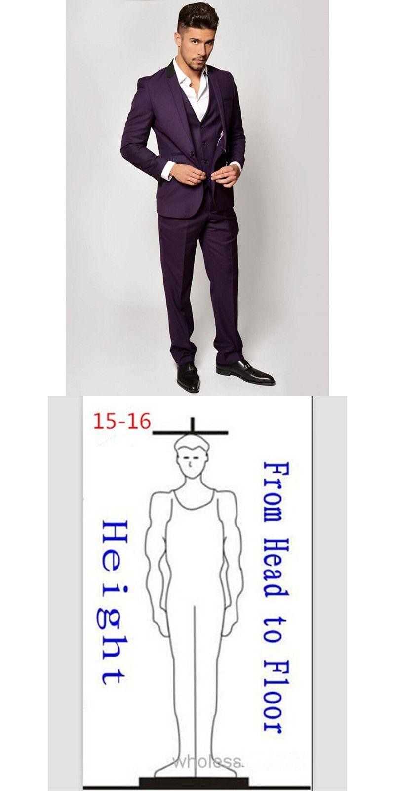 Latest Coat Pant Designs Purple Men Suit Formal Slim Fit Tuxedo Prom ...