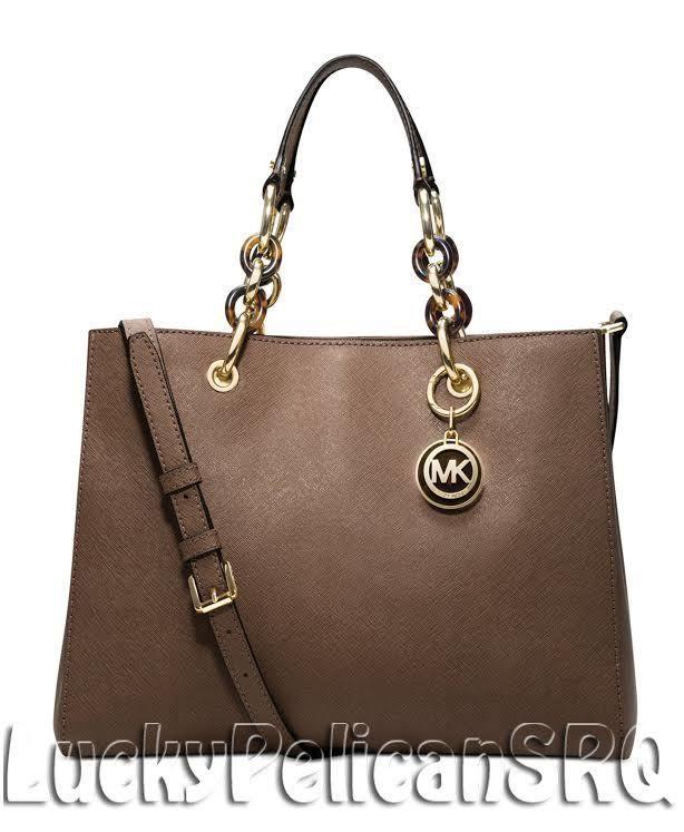 dfdaa5acd4c6 Michael Kors Cynthia Medium Saffiano Leather Dark Dune Beige Satchel  Handbag NWT #MichaelKors #Satchel