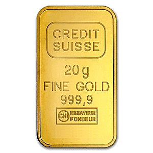 Credit Suisse Gold Bar Circulated In Good Condition 20 G 20g Credit Suisse Gold Bar Manufactured By Valcambi Each Gold Bar C Credit Suisse Gold Bar Gold
