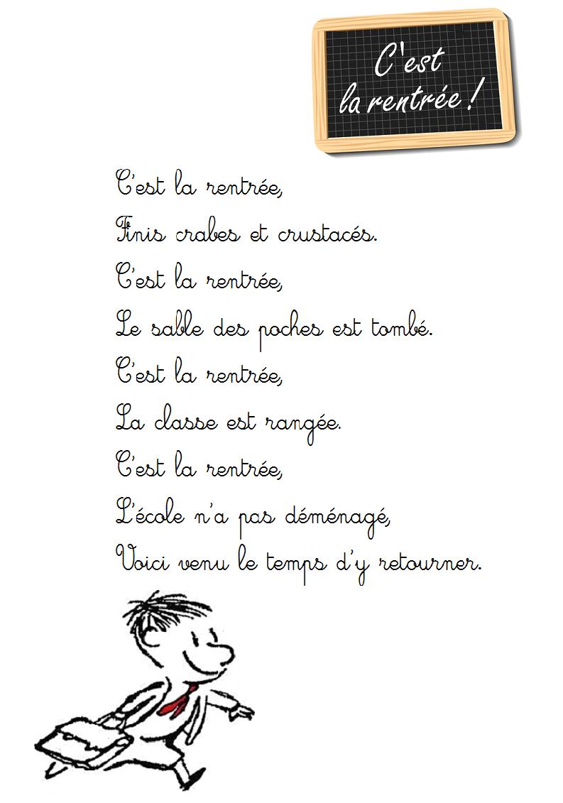 Poesie C Est La Rentree Poesie Illustree C Est La Rentree A Imprimer Comptine De Rentree Comptine Maternelle Rentree Poesie Rentree