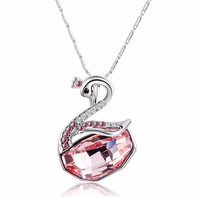 8b591b13b588 Silver-Tone Pink Swarovski Elements Crystal Swan Pendant Necklace ...