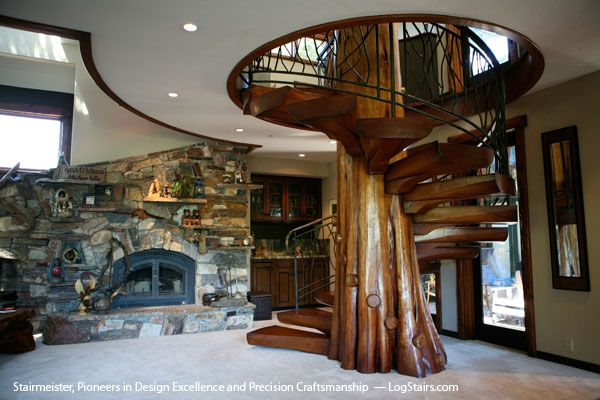 Spiral Stairs / Staircase With Tree In The Center In Custom Home   Santa  Cruz,