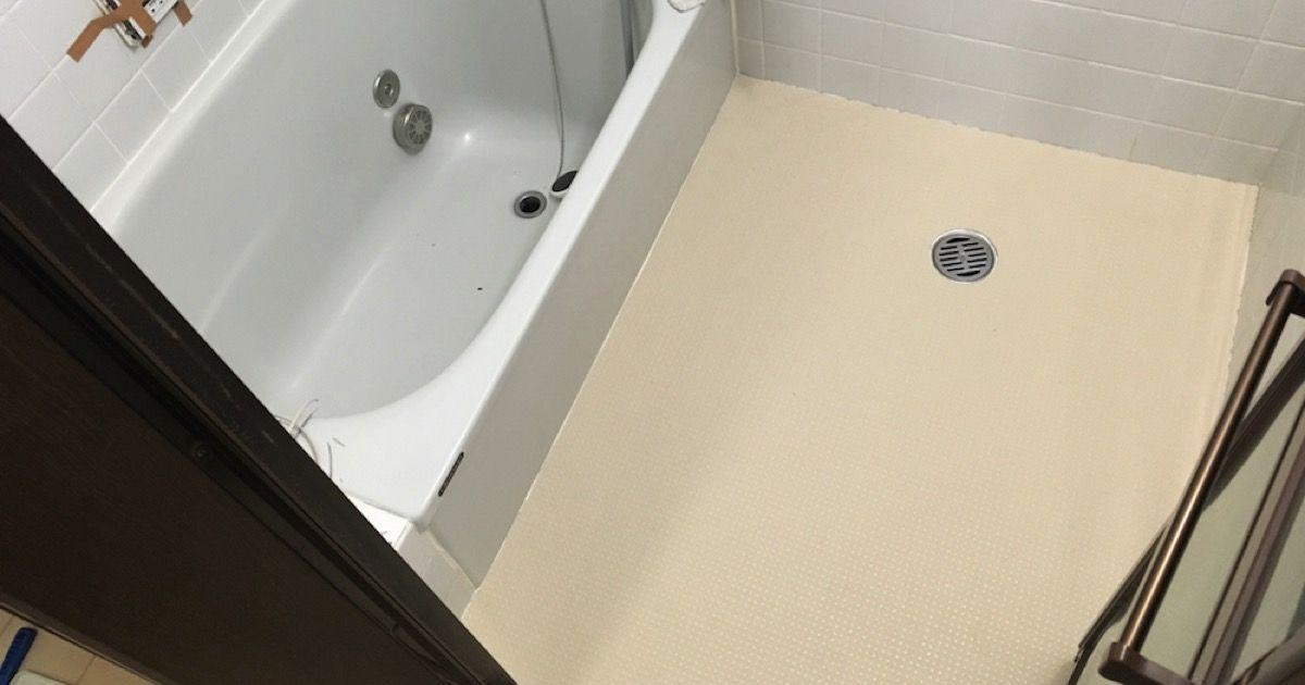 浴室タイル床の上に貼れるペディシートをdiyで貼り付けリフォームする