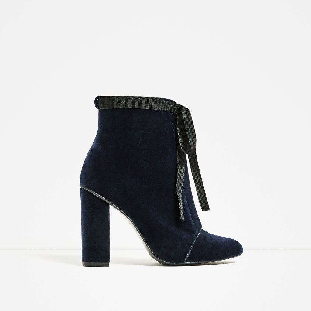 HIGH HEEL VELVET ANKLE BOOTS from Zara