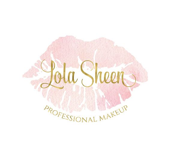 Photo of watercolor pink lipstick premade makeup artist logo design beauty blog natural organic vegan cosmetic skincare products feminine elegant