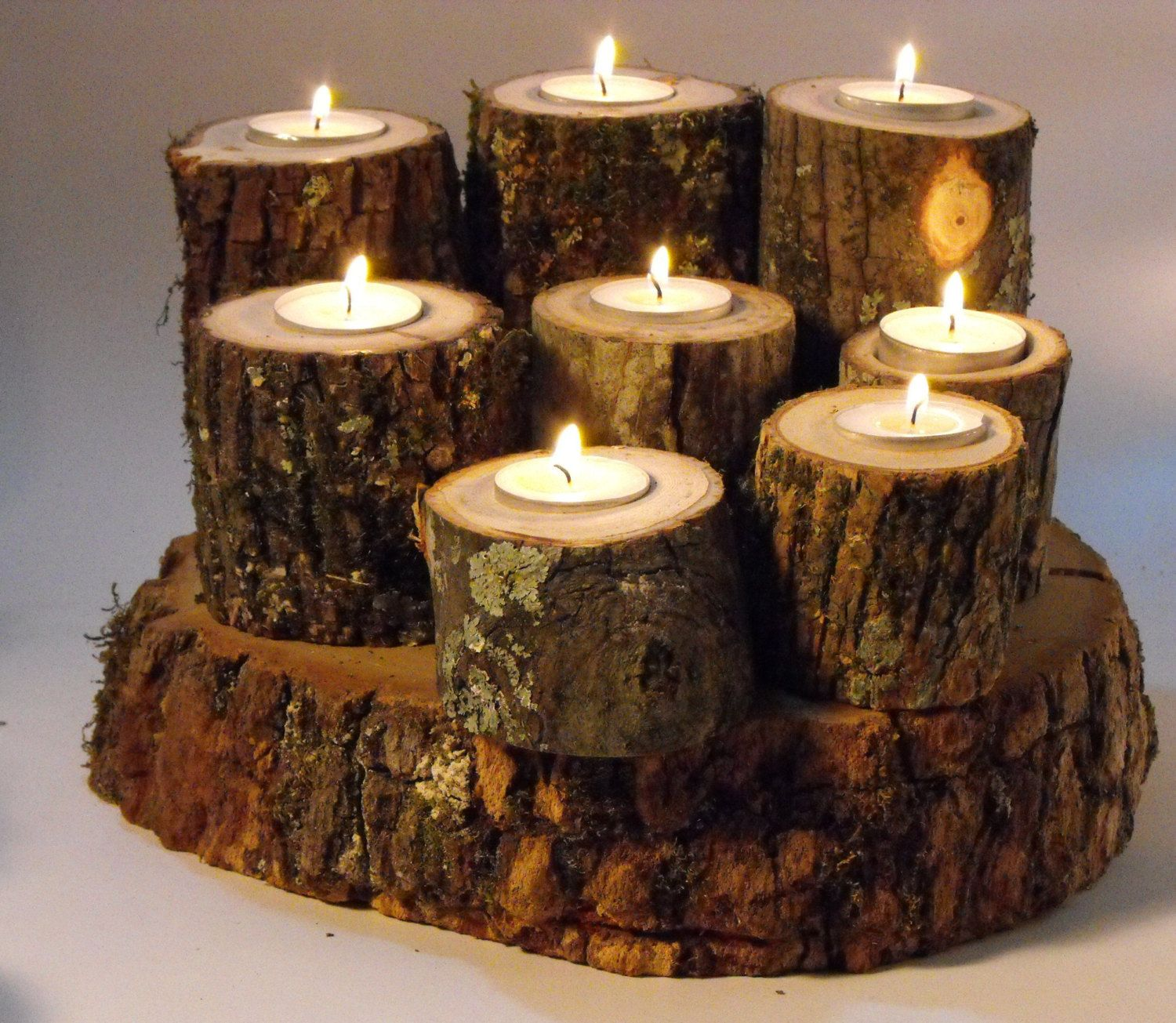 Wedding anniversary decorations at home   Rustic Tree Branch Candle holders Wedding decorationParty