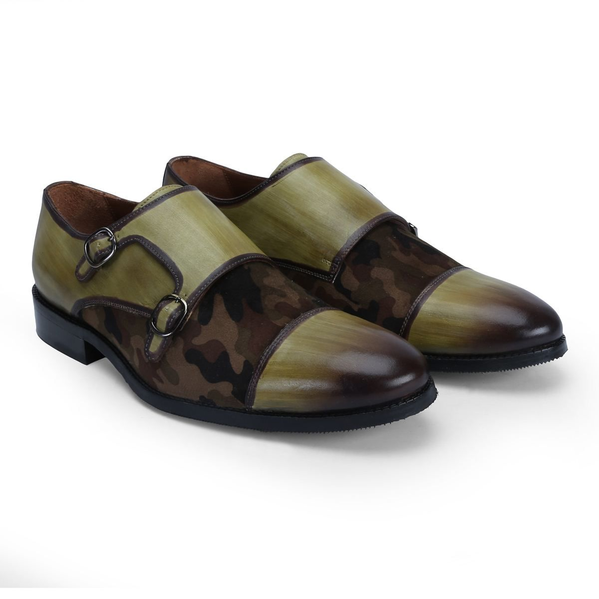 Double Monk Strap Hand Finished Olive Green Leather Camouflage
