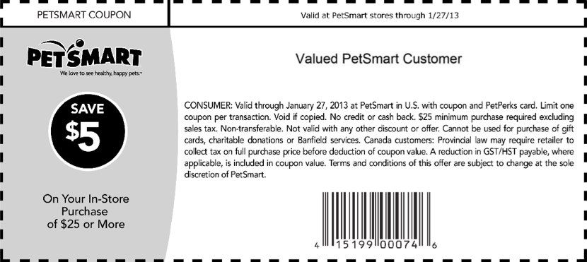 Petsmart 5 Off 25 Printable Coupon Petsmart Printable Coupons Coupons