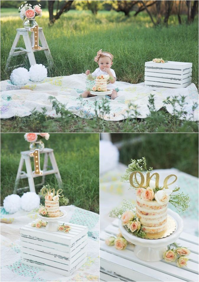 Outside Girl Floral Cake Smash Shannon Lee Photography 187