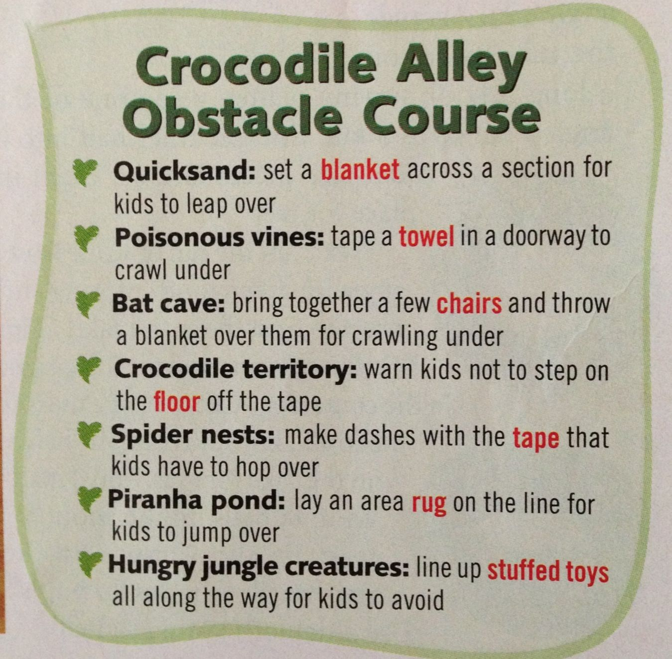 Jungle Theme Obstacle Course Ideas