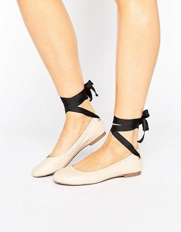 Contrast Tie Up Ballet Flat