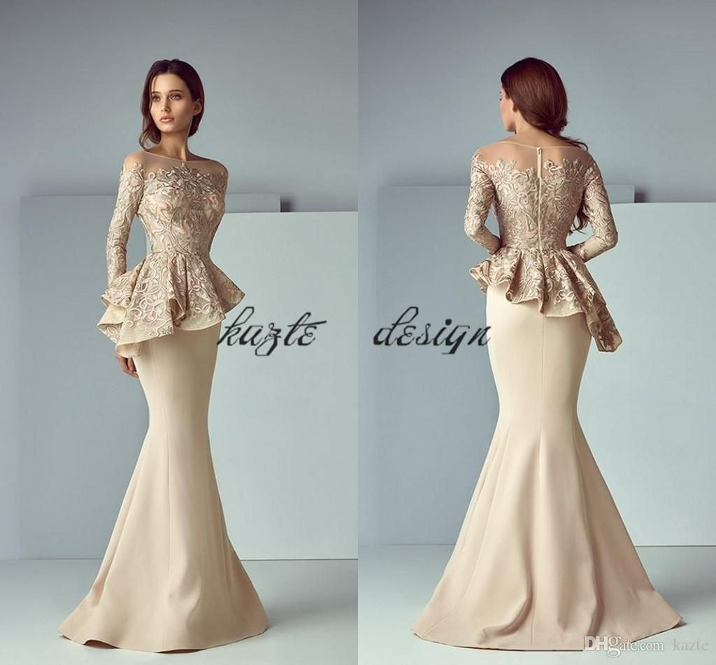 6868d9f1c63 Champagne Lace Stain Peplum Long Evening Formal Wear Dresses 2018 Sheer  Neck Long Sleeve Dubai Arabic Mermaid Prom Dress Saiid Kobeisy Red Prom  Dresses ...