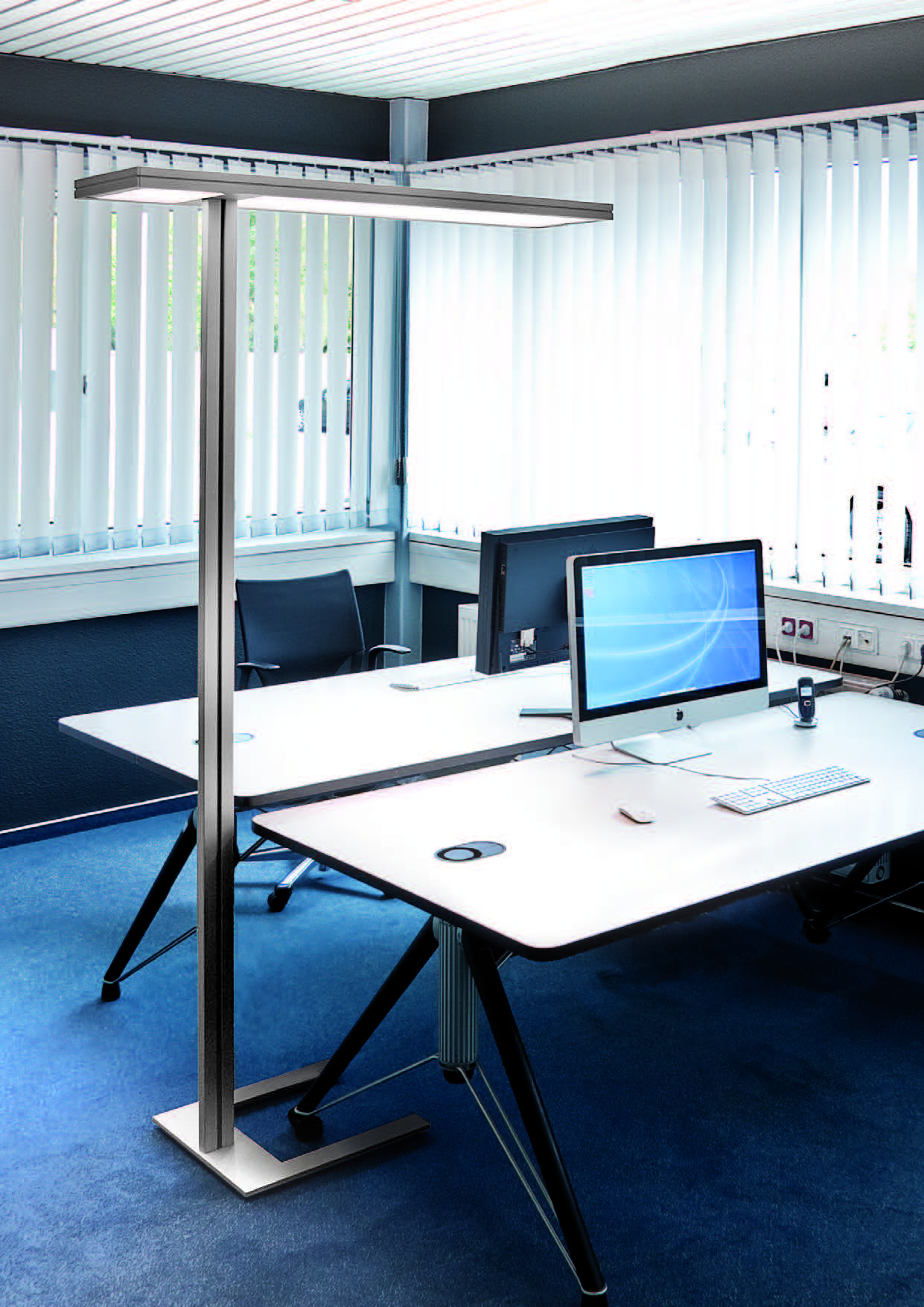 Indirect Direct Task Lighting From A Floor Mounted Fixture