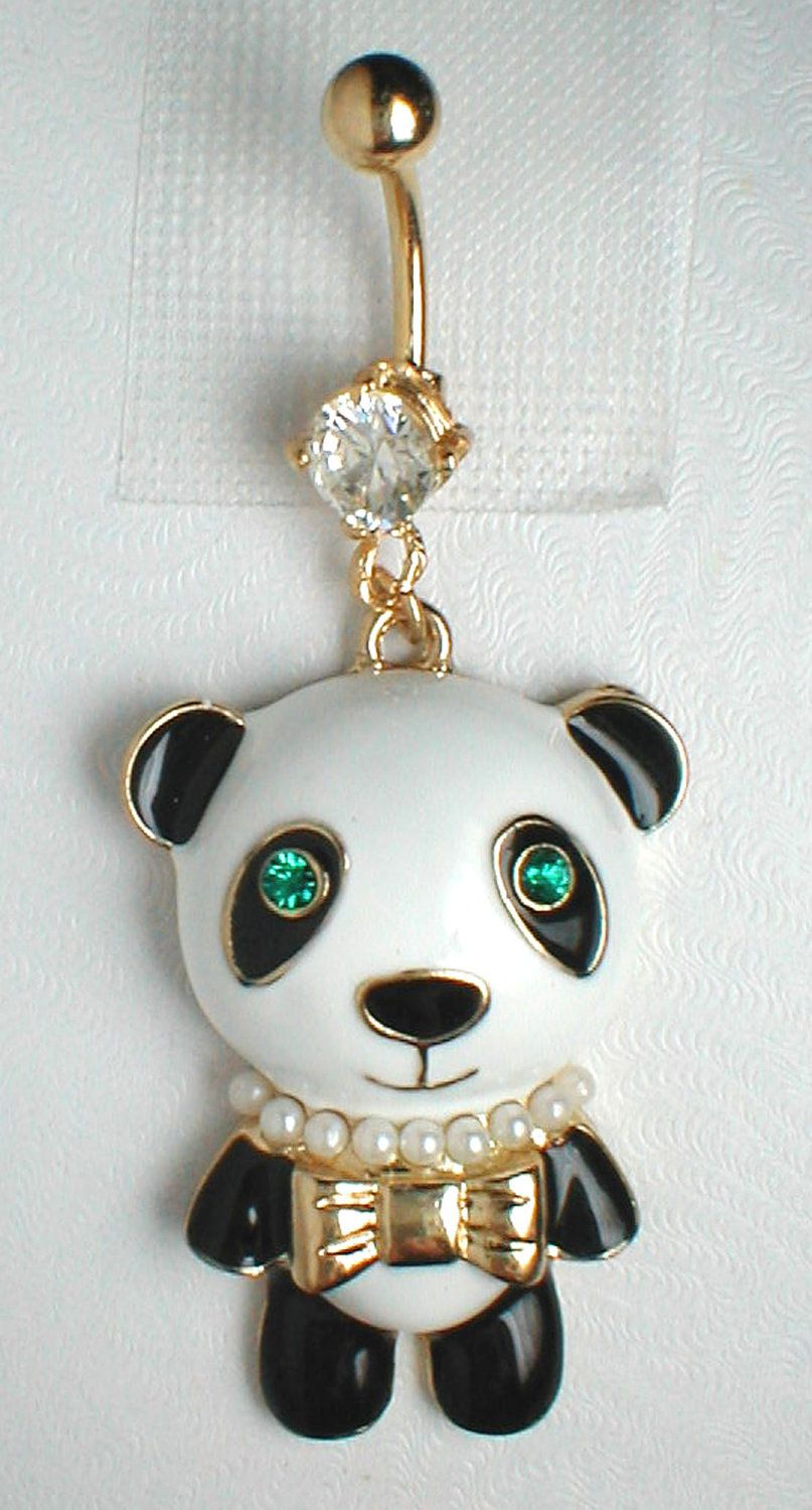 Belly without piercing  Unique Belly Ring  Panda Bear Pendant On A Belly Ring  via