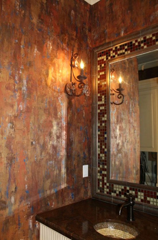 Copper decor project ideas on the modern masters cafe blog metallic plaster waterfall wall finish by ncf studio
