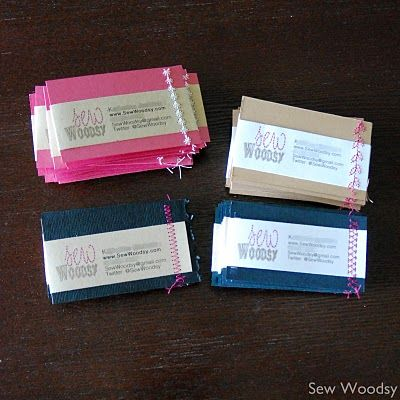Sewn Homemade Business Cards Cfl Blog Con Recap Sew Woodsy Homemade Business Diy Business Cards Make Business Cards